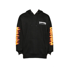 Thrasher Flame Sleeve Hooded Black - Black