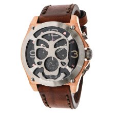 Expedition Chronograph Man Black Dial Brown Leather Strap [EXF-6699-MCLTRBA]