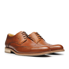 LIFE 8 MIT Hand Carved Embossed Leather Shoes - Brown