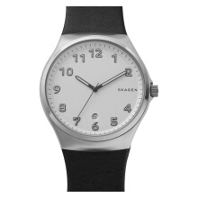 Skagen Sunby White Dial Black Leather Strap Watch [SKW6268]