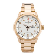 CITIZEN Automatic Watch - Gold Strap/White Dial 44mm Gents [NH8373-88A]