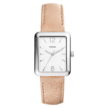 Fossil Ladies Atwater Silver Dial Sand Leather Strap [ES4243]