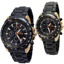 Mirage Couple Edition D45H600MRG8305CBRPRG Date Jam Tangan Couple Stainless Steel Chain - Hitam Black