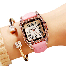 LSVTR imported original fashion ladies watch retro rhinestone student quartz watch leather ladies watch diamond