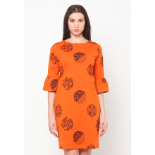 FBW Sonia Flutted Sleeves Batik Piring Dress - Oranye