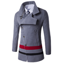 Turndown Collar Oblique Single Breasted Stirpe Wool Coat