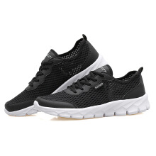 Men'S Shoes Hollow Breathable Large Size Couple Models Travel Sports Network 40 Black