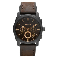 Fossil Machine Mid Size Chronograph Brown Leather Strap Watch [FS4656]