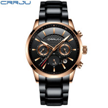 CRRJU Mens Chronograph Watches Top Brand Luxury Full Steel Quartz Watch 30m Waterproof Watch