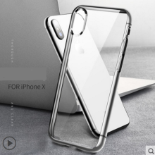 Ins V-62 electroplate Silicone anti-fall Transparent IPHONE X case cover-Tsilver