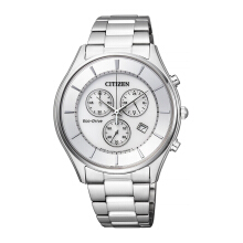 CITIZEN Eco Drive Watch - Silver Strap/Silver White Dial 40mm Gents [AT2360-59A]