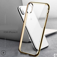 Ins V-63 electroplate Silicone anti-fall Transparent IPHONE X case cover-Tgolden