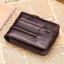 Laoshizi(old lion) Vintage RFID Antimagnetic Genuine Leather 13 Card Slots Coin Bag Trifold Wallet For Men Brown