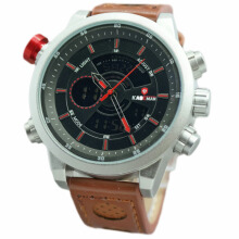 Kademan D48H170CKSLM Dualtime Leather Strap Jam Tangan Pria