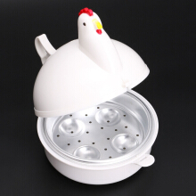 Jantens Chicken Shaped Microwave 4 Eggs Steaming Cooker Kitchen Appliances Boiler White