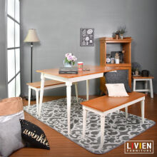 LIVIEN FURNITURE Meja Makan Set 2 Bangku Panjang Maple Story - Brown