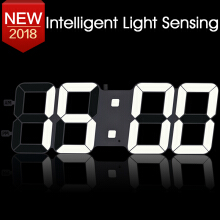 TXL 3D DIY Wall Clock Large Table Clock Led Digital Automatic Sensor Light Jumbo Wall Clock Huge Screen Display White