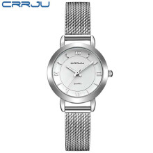 CRRJU Brand Ladies Watches Quartz Wristwatch Bracelet Thin Women Clock Stainless Steel Mesh Strap Waterproof Relogio Feminino