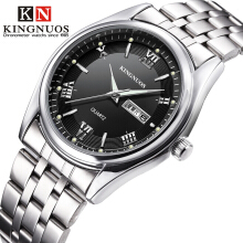 KINGNUOS Business Watch Waterproof Men Wrist Watches Watchband Stainless steel Clock
