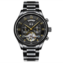 KINYUED Mechanical Wristwatches Automatic Self-Wind Stainless Steel Waterproof Skeleton Watch