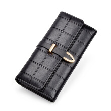 Jantens Women wallet long checkered snake-shaped buckle high capacity wallet Black