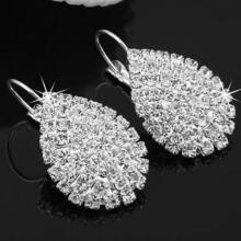 Farfi Women Fashion Elegant Shiny Waterdrop Rhinestone Claw Hook Stud Earrings Jewelry