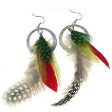 ETONG Natural Fashion Feather Theme Earrings Boho Handmade Super Light like Peacock Feather Dangling Earrings for Women Girls