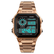 SKMEI 1335 Digital Watch Men Chronograph Alarm Watch Fashion Style Stainless Steel Sport Watch Rose Gold