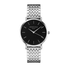 ROSEFIELD The Upper East Side Silver Black Dial Watch with Silver Strap [UEBS-U25]