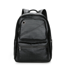 Wei's Men's Choice Fashion Headphones Pocket Backpack Leather Backpack Business Casual Backpack fdk0316 Black