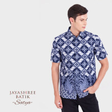 JAYASHREE BATIK Slim Fit Short Sleeve Satya - Blue