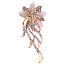 Jantens Brooch Pins Alloy Tassel Brooch Crystal Flower Brooch 28*66mm 2018 Gold