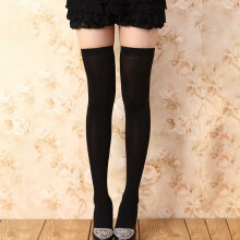[COZIME] Solid Color Women High Adults Stretchy Socks Long Stockings Over Knee Socks Black