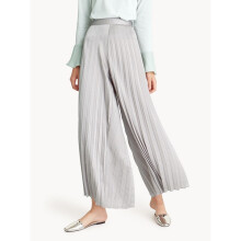 Pleated Wide Leg Satin Pants - Gray