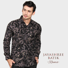 JAYASHREE BATIK Slim Fit Long Sleeve Rama - Black White