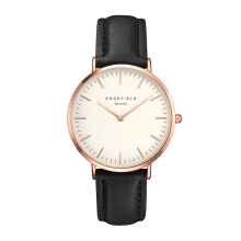 ROSEFIELD The Bowery Rose Gold White Dial Watch with Black Strap [BWBLR-B1]