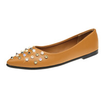 BESSKY Women Spring Rivet Decoration Casual Shoes Female Pretty Square Heel Flat Shoes _