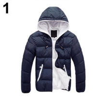 Farfi Men Winter Warm Down Jacket Long Sleeve Padded Hooded Zipper Coat