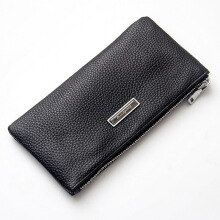 Baellerry men's original imported leather wallet leather long wallet zipper leather thin youth retro clutch bag soft