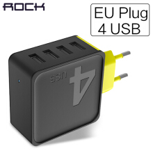 ROCK Sugar Mobile Phone Charger, ROCK 5V1A 5V2.4A 5V4A Universal Travel Phone USB Charger, 1 2 4 USB Wall Charger Black-4Post