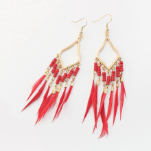 Bohemian Rhombus Docorated with Beads Dangle Feather Tassel Stud Earring
