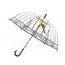 Transparent Umbrella Long-handle Bird In The Cage For Sunny And Rainy Days