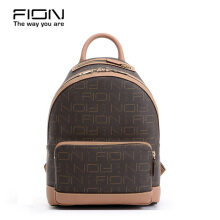 FION PU & Cow Leather Backpack - Brown