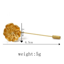 Jantens 2018 Fashion Jewelry Gold Metal Flower Brooch Lapel Pin Men Broches Vintage For Women Gold