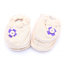Cribcot Booties with Ribbon - Milk Choc & Dark Purple  3 -6M