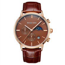 BELUSHI Men's Leather Strap Quartz Watch MF526