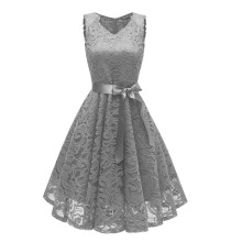 Xi Diao Elegant Women V-Neck Party Lace Dress
