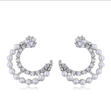 AAA Grade Zirconia Graduated Small Imitatiion Pearl Crecent Gold-plated S925 Sterling Silver Pin Stud Earring