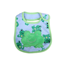 SiYing embroidered lace cartoon three-layer baby waterproof bib Green Frog