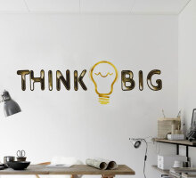 Wall sticker dekorasi dinding wording Think Big Black
